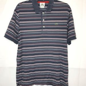 LACOSTE MENS STRIPE SHORT SLEEVE RUGBY POLO SIZE 6